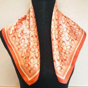 Coach logo square silk scarf in coral